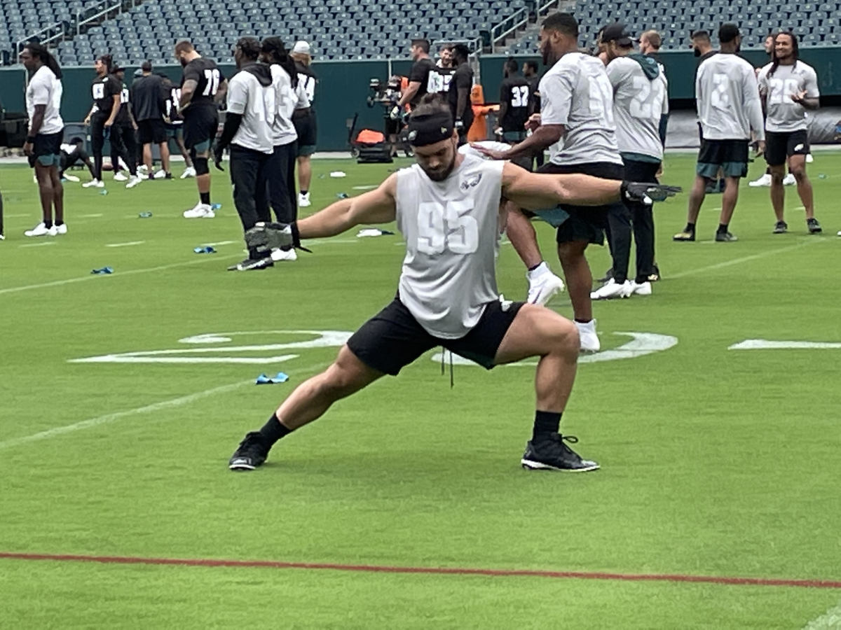 Joe Ostman stretches for competition
