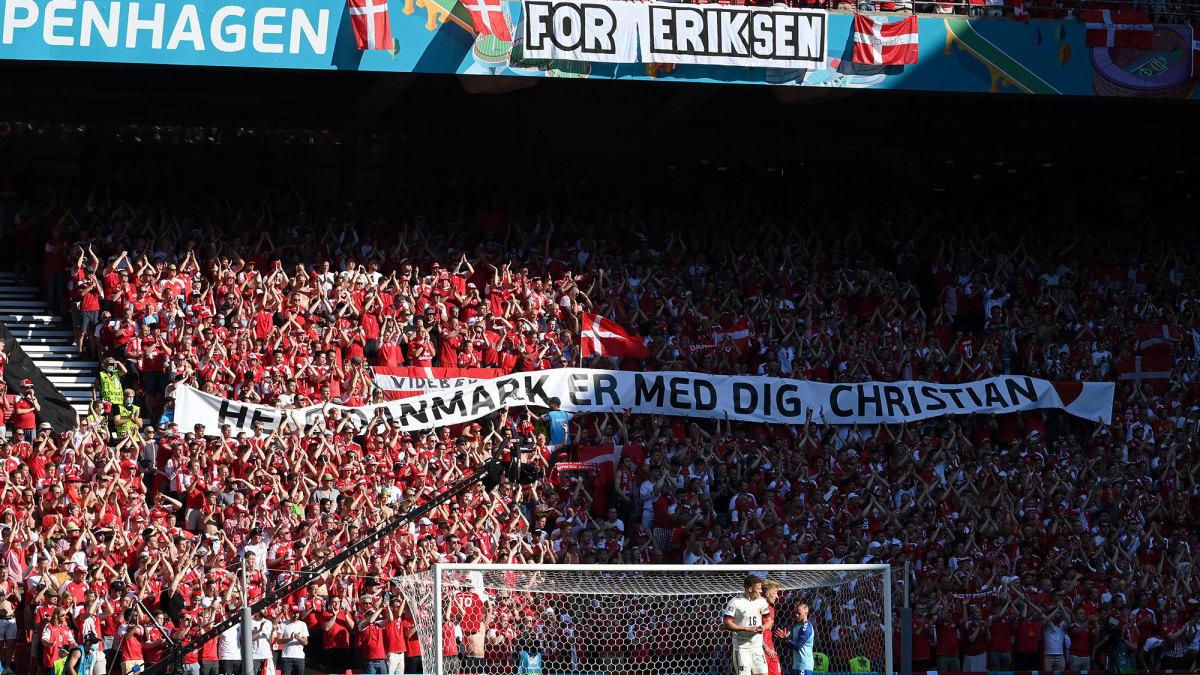 Denmark fans show support for Christian Eriksen