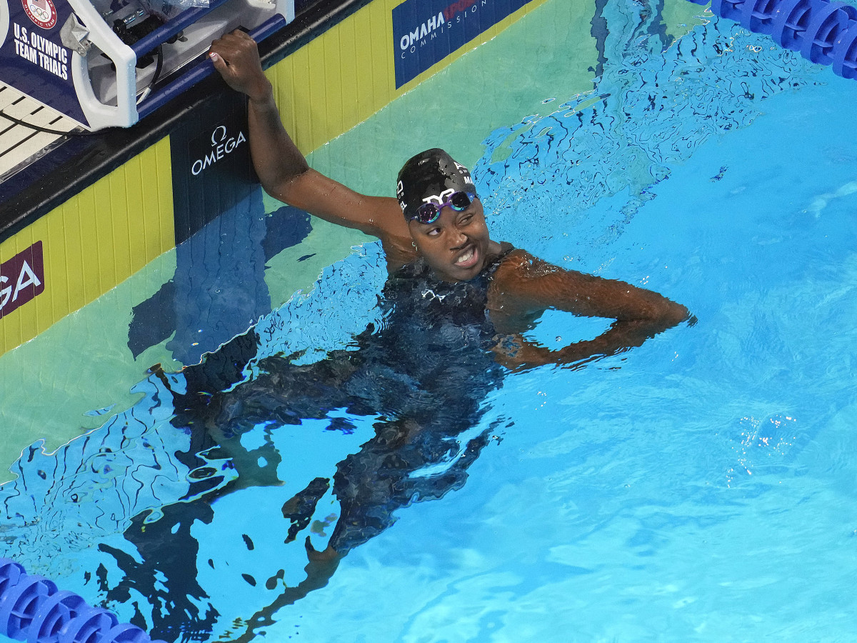 Simone Manuel reacts after swimming in the Women s 100m Freestyle prelims during the U.S. Olympic Team Trials Swimming competition at CHI Health Center Omaha.
