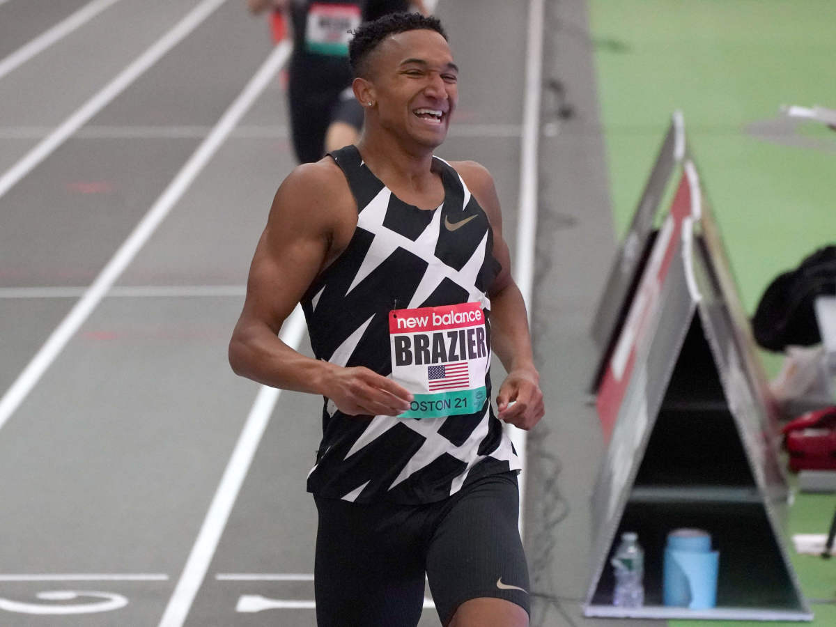 Donavan Brazier (USA) celebrates after winning the 800m in an American record 1:44.21 during the New Balance Indoor Grand Prix at Ocean Breeze Athletic Complex.