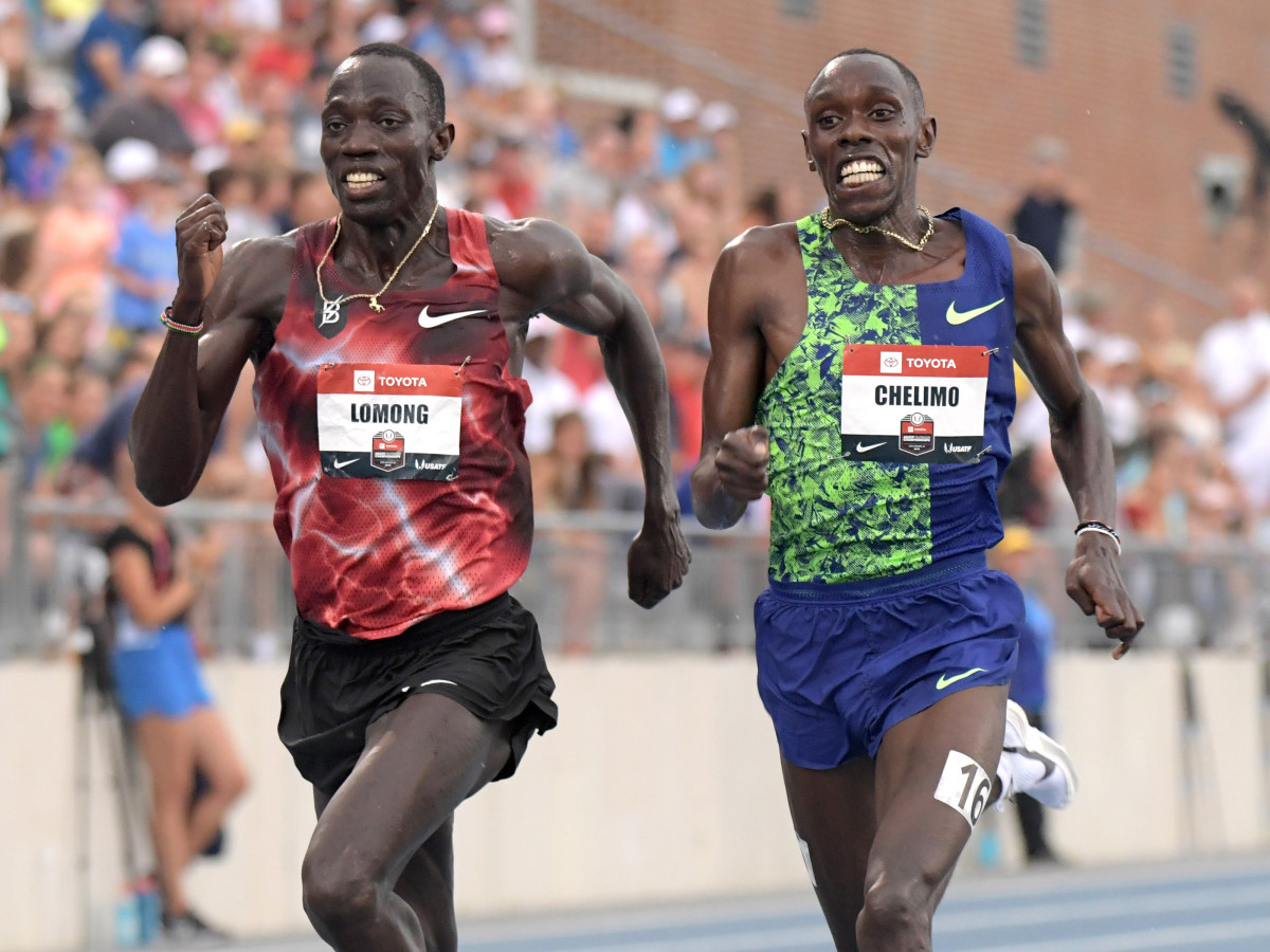 Lopez Lomong and Paul Chelimo compete at the 2019 USATF Championships.