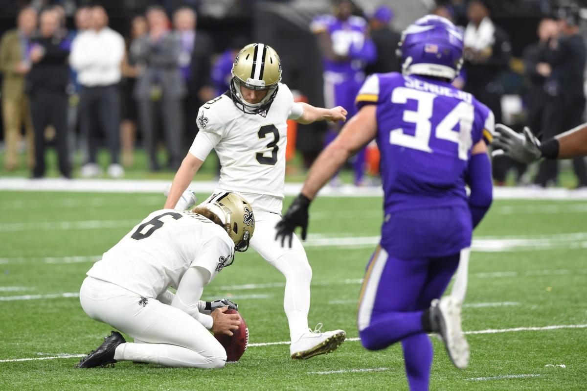 New Orleans Saints kicker Wil Lutz (3) kicks a field goal against the Minnesota Vikings. Mandatory Credit: John David Mercer-USA TODAY Sports