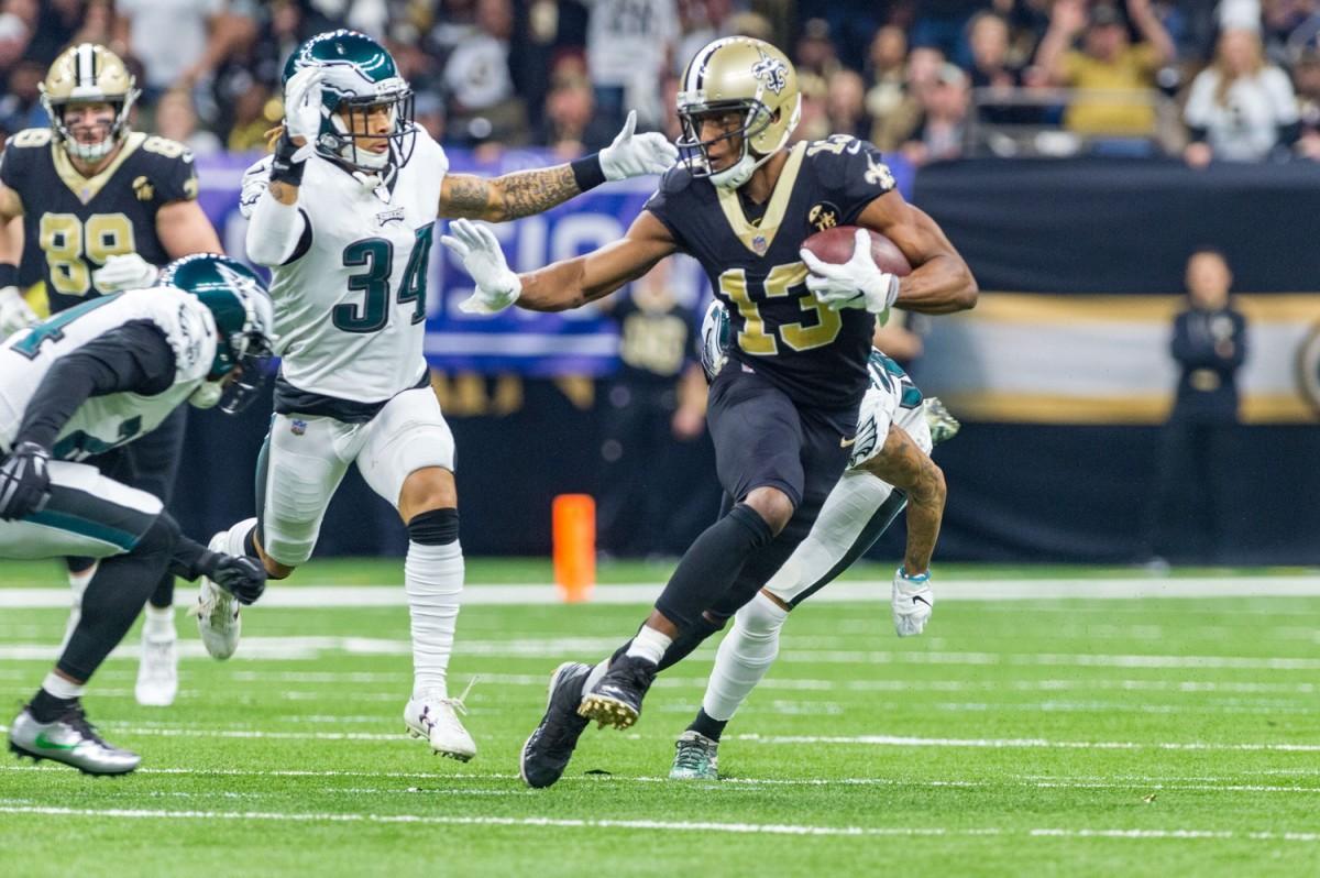 Saints receiver Michael Thomas runs the ball against the Philadelphia Eagles