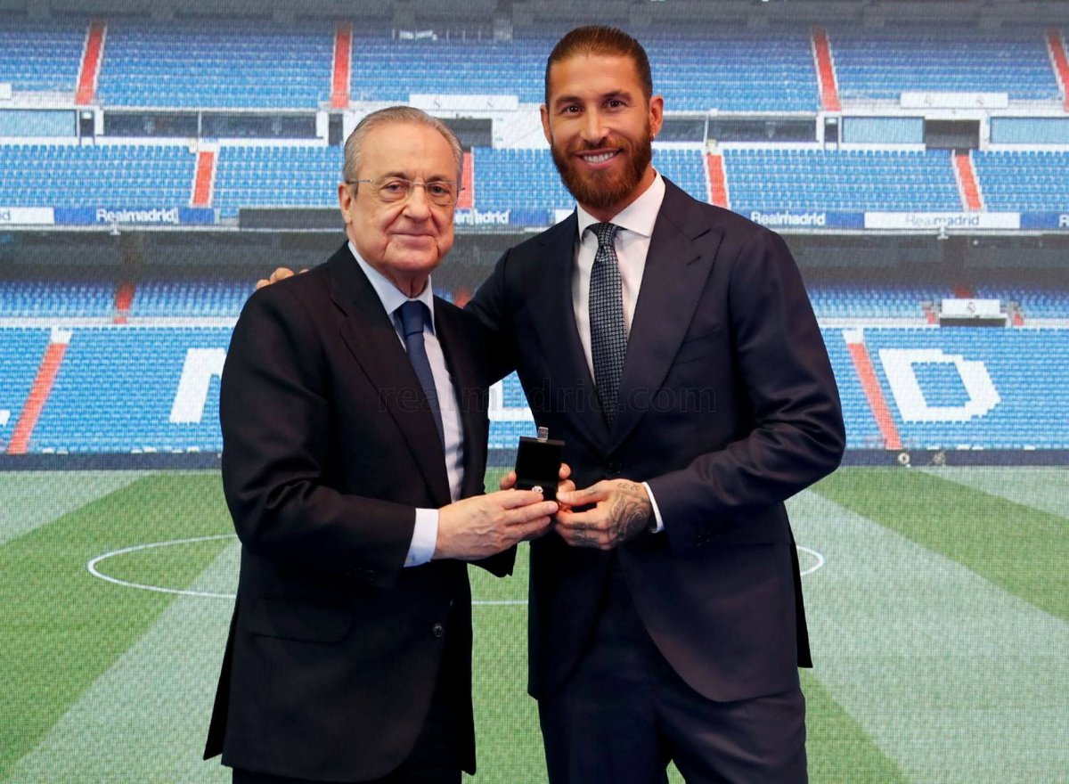 Sergio Ramos with Florentino Perez at his farewell tribute in Madrid