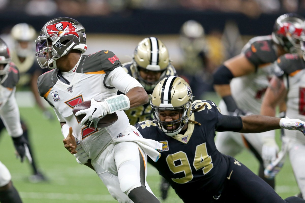 Tampa Bay quarterback Jameis Winston (3) is sacked by New Orleans Saints defensive end Cameron Jordan (94). Mandatory Credit: Chuck Cook-USA TODAY Sports