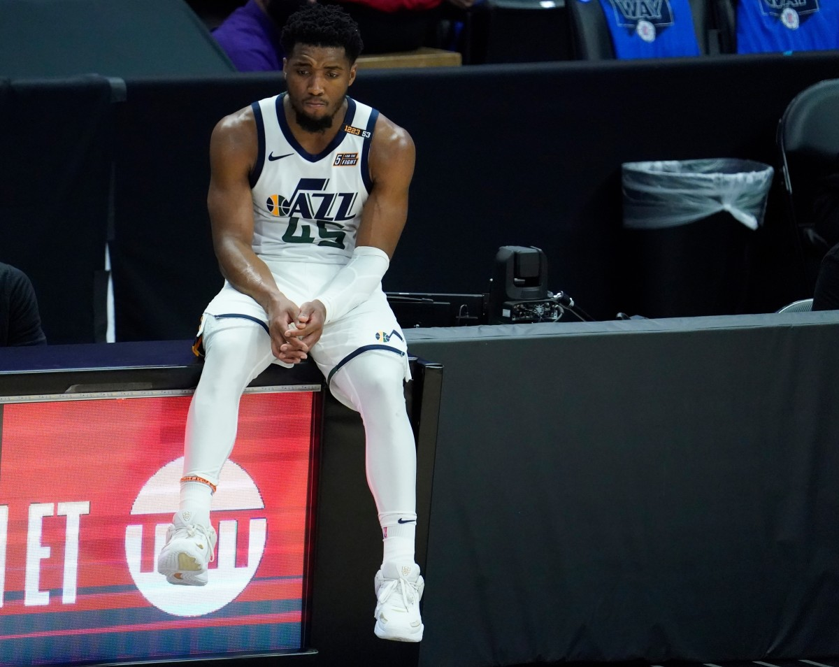 Donovan Mitchell (45) looks on during the final moments of the Jazz game six loss on Friday night