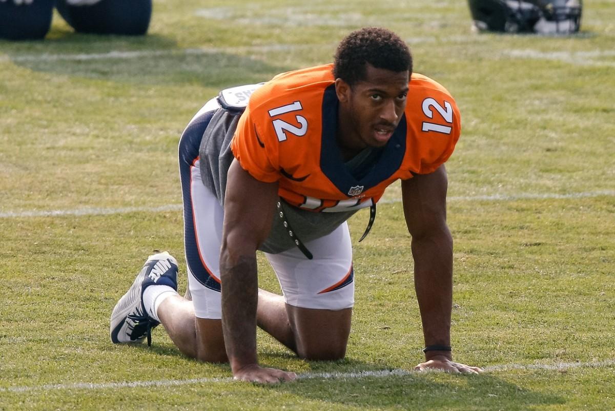 Denver Broncos wide receiver Trinity Benson (12) during training camp at the UCHealth Training Center.