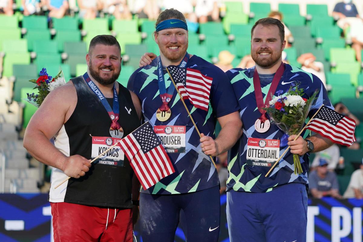 Penn State graduate Joe Kovacs (left) with fellow U.S. Olympic Team members Ryan Crouser (center) and Payton Otterdahl. (Kirby Lee, USA Today Sports)