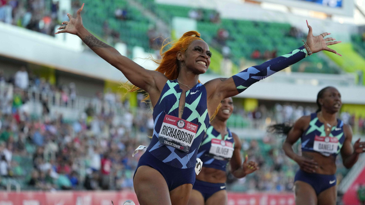 Sha'Carri Richardson celebrates after winning the women's 100m in 10.86 during the US Olympic Team Trials at Hayward Field.