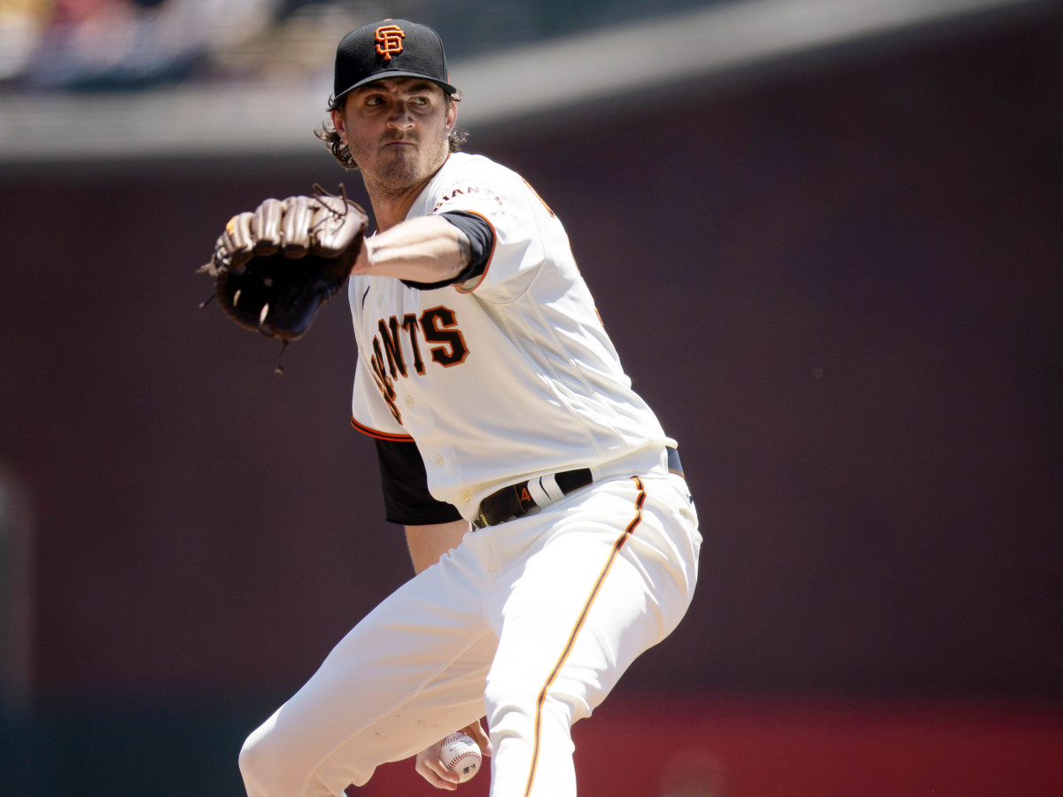 Jun 17, 2021; San Francisco, California, USA; San Francisco Giants starting pitcher Kevin Gausman (34) delivers a pitch against the Arizona Diamondbacks during the first inning at Oracle Park.