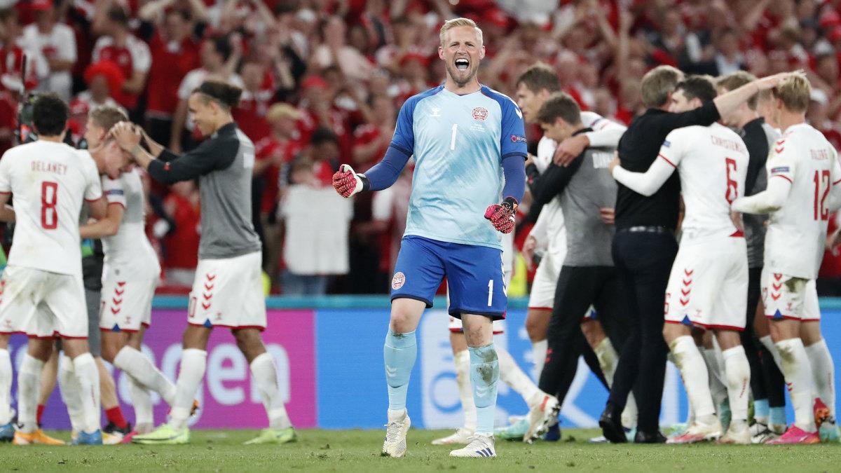 Denmark goalkeeper Kasper Schmeichel celebrates a win over Russia