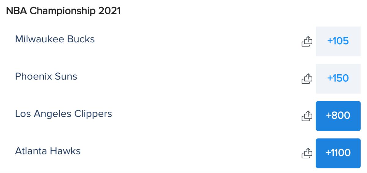 NBA Finals Futures Odds via FanDuel Sportsbook on 06/22/21