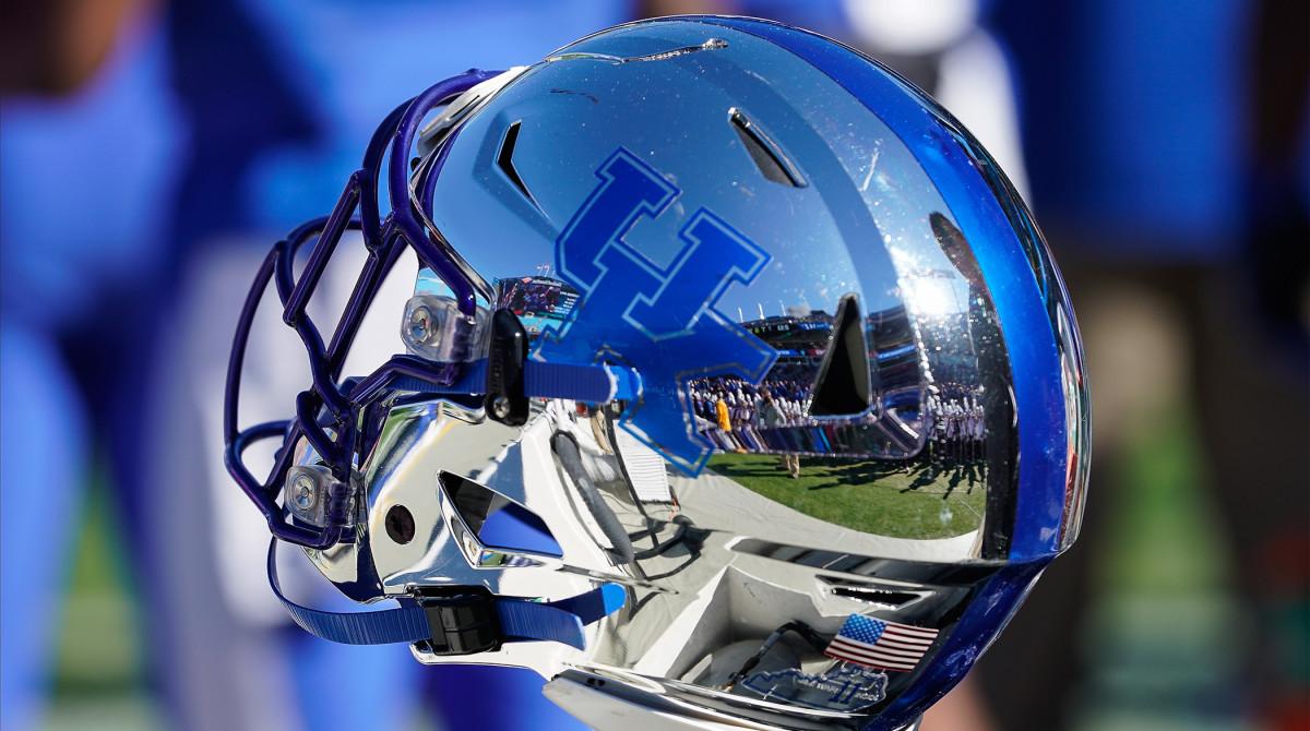 Dec 31, 2019; Charlotte, North Carolina, USA; Kentucky Wildcats helmet during the second quarter against the Virginia Tech Hokies of the Belk Bowl at Bank of America Stadium.