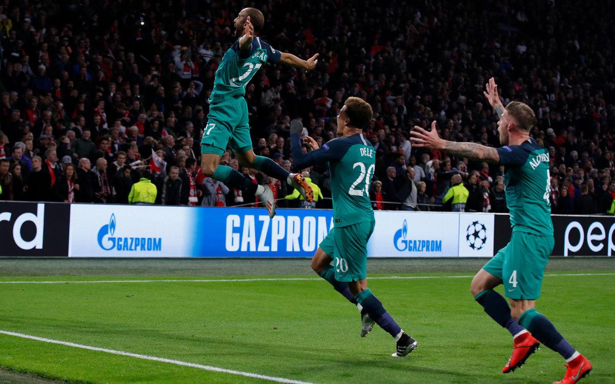 Lucas Moura scores for Tottenham vs. Ajax
