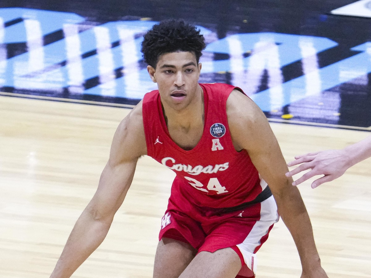Quentin Grimes playing for the Houston Cougars during the Final Four.