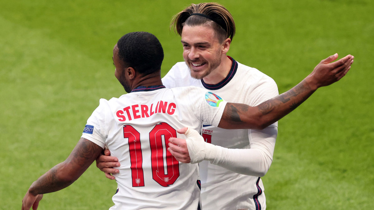 England's Jack Grealish and Raheem Sterling
