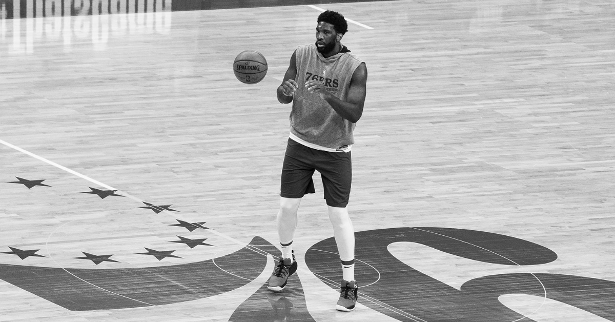 Jun 16, 2021; Philadelphia, Pennsylvania, USA; (Editor s note: original photo converted to black and white) Philadelphia 76ers center Joel Embiid (21) warms up before Game 5 against the Atlanta Hawks in the second round of the 2021 NBA playoffs at Wells Fargo Center.