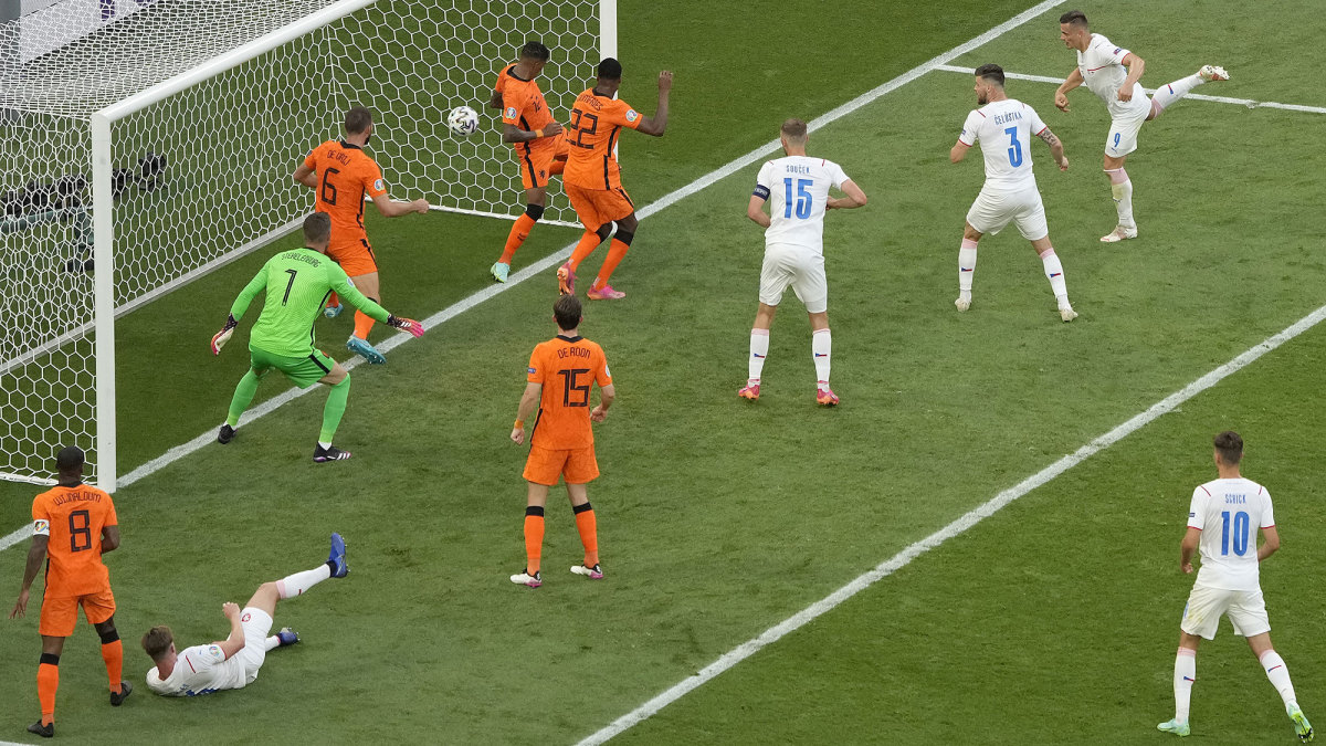 The Czech Republic scores vs. the Netherlands at Euro 2020