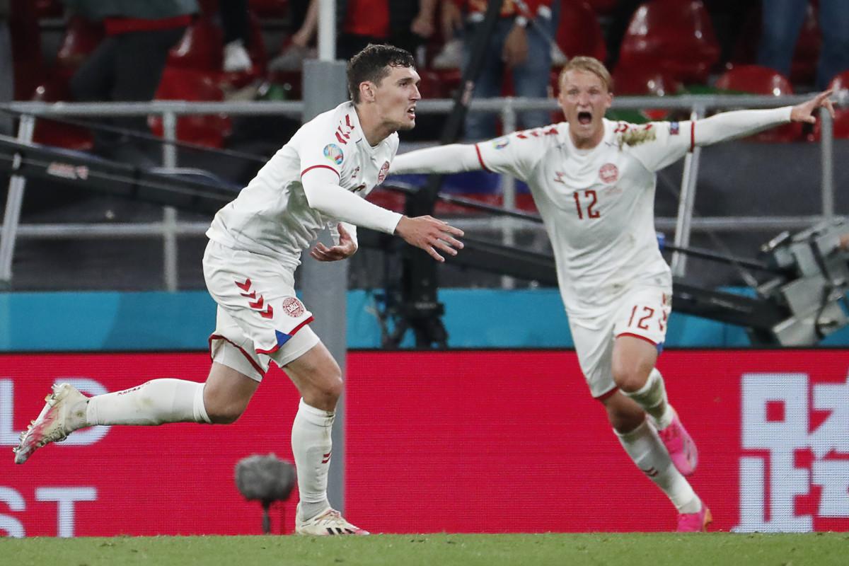 Christensen celebrates his goal versus Russia, his second ever for Denmark