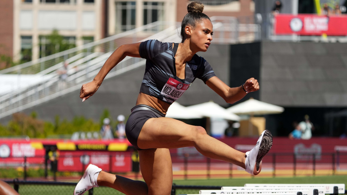 Sydney McLaughlin wins women's 400m hurdles heat in 54.07 for the top time during the US Olympic Team Trials at Hayward Field.