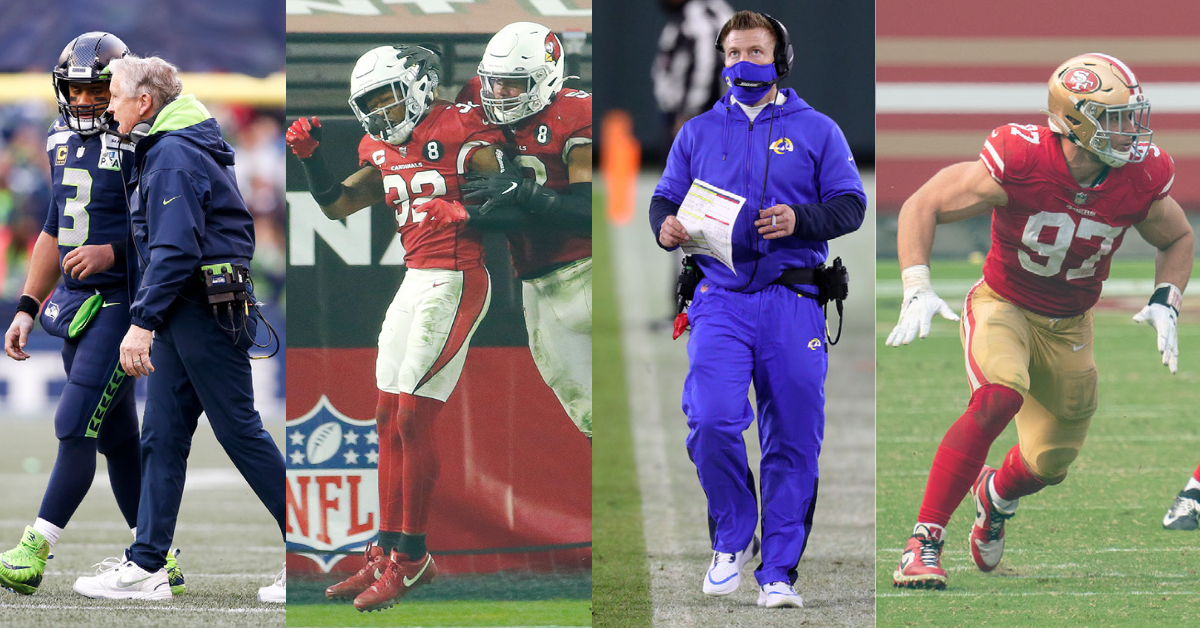 Russel Wilson, Pete Carrol, Budda Baker, Sean McVay and Nick Bosa sum up the current stars of the NFC West. Picture for the MMQB NFL Podcast on 28 Jun, 2021