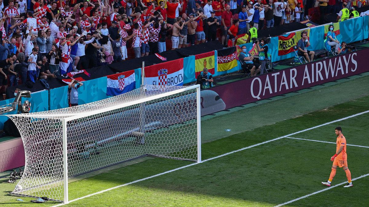 Spain goalkeeper Unai Simon walks back to his net after an own goal vs Croatia at Euro 2020