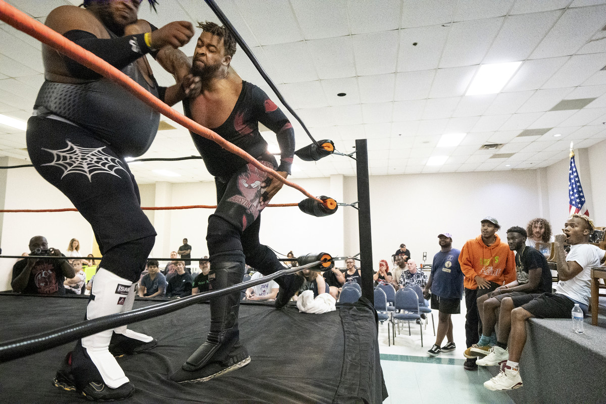 Ehren Black and Austin Towers, opponents on June 27, battle before a young, impressionable audience.