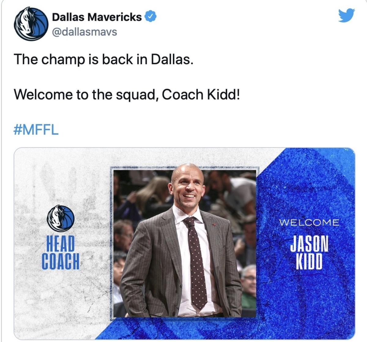 Mavericks welcome Jason Kidd