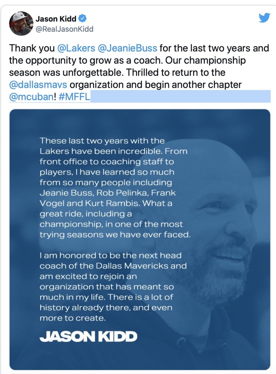 Kidd says thank you to the Lakers