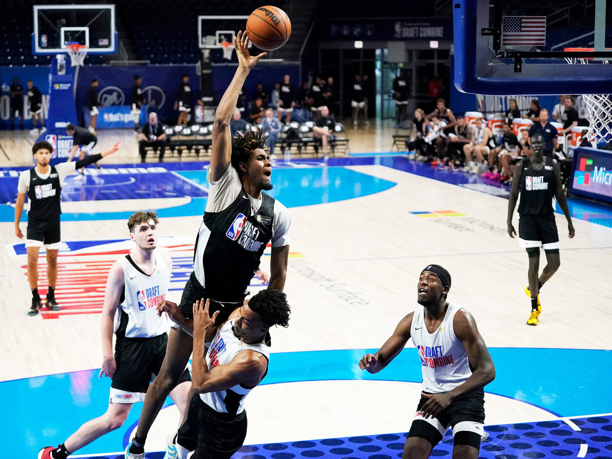 Greg Brown lunges toward the basket at the NBA combine