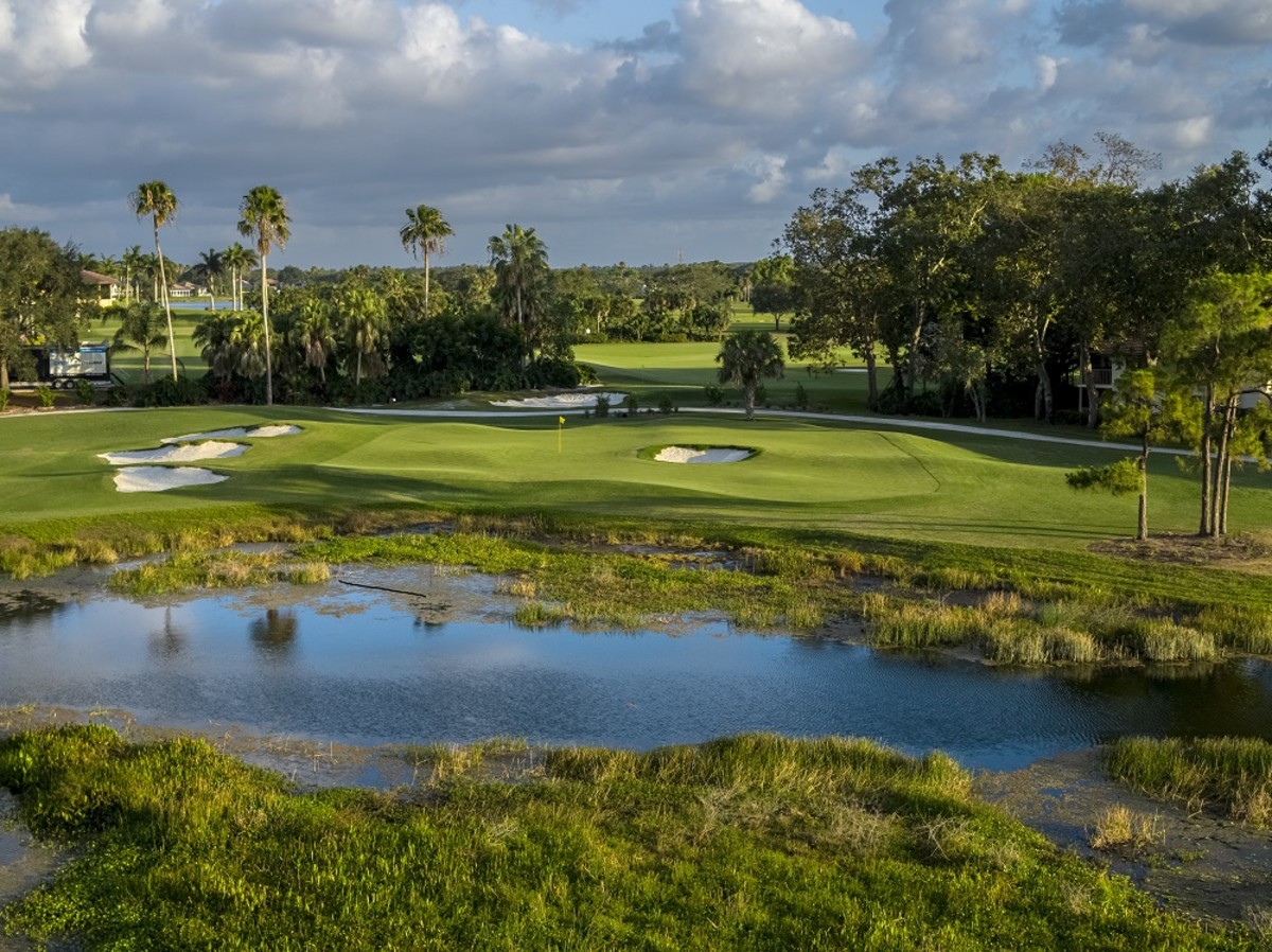 The 9th hole on the Staple Course at PGA National Resort and Spa.