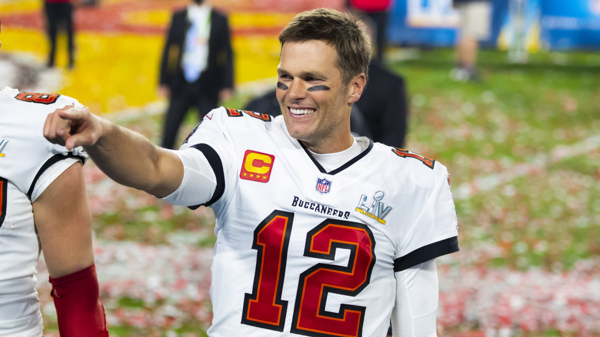 Tom Brady smiles after winning the Super Bowl