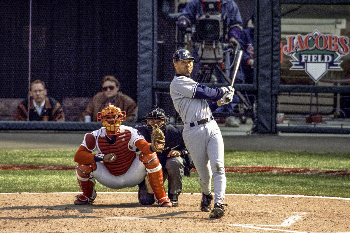 Derek Jeter hits a home run on Opening Day in 1996 at Jacobs Field in Cleveland.