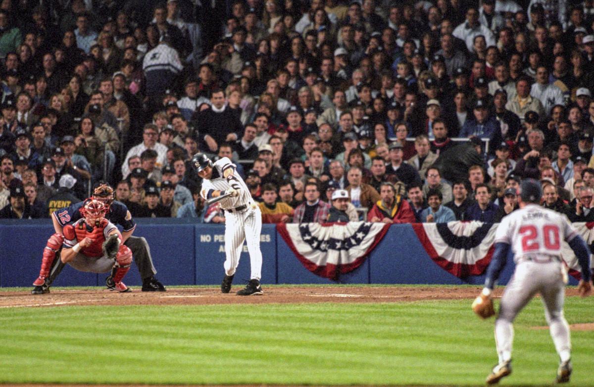 Derek Jeter singles in the 1996 World Series
