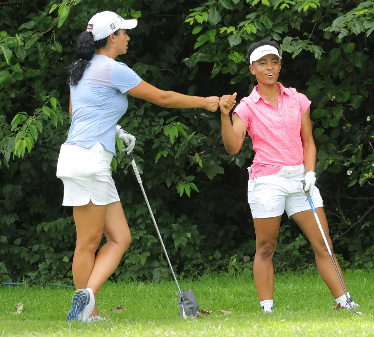 Shasta Averyhardt (left) andAnita Uwada teamed to win the women's division of the John Shippen National Invitational on Monday and a spot in a LPGA team event in two weeks.