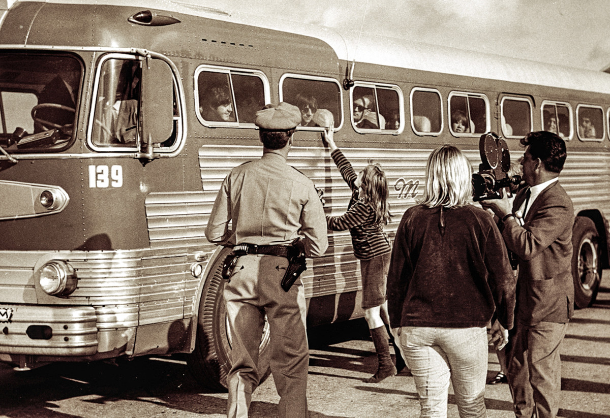 The Beatles arriving at Candlestick Park for a concert in 1966