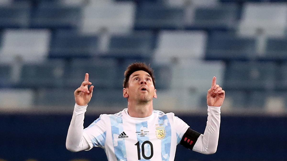Lionel Messi celebrates a goal at Copa America