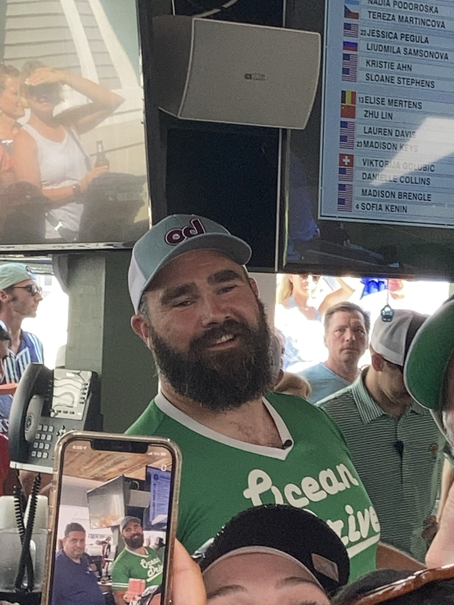 Eagles center Jason Kelce served as a guest bartender in Sea Isle City's Ocean Drive bar to help raise money for Eagles Autism Foundation on June, 30, 2021