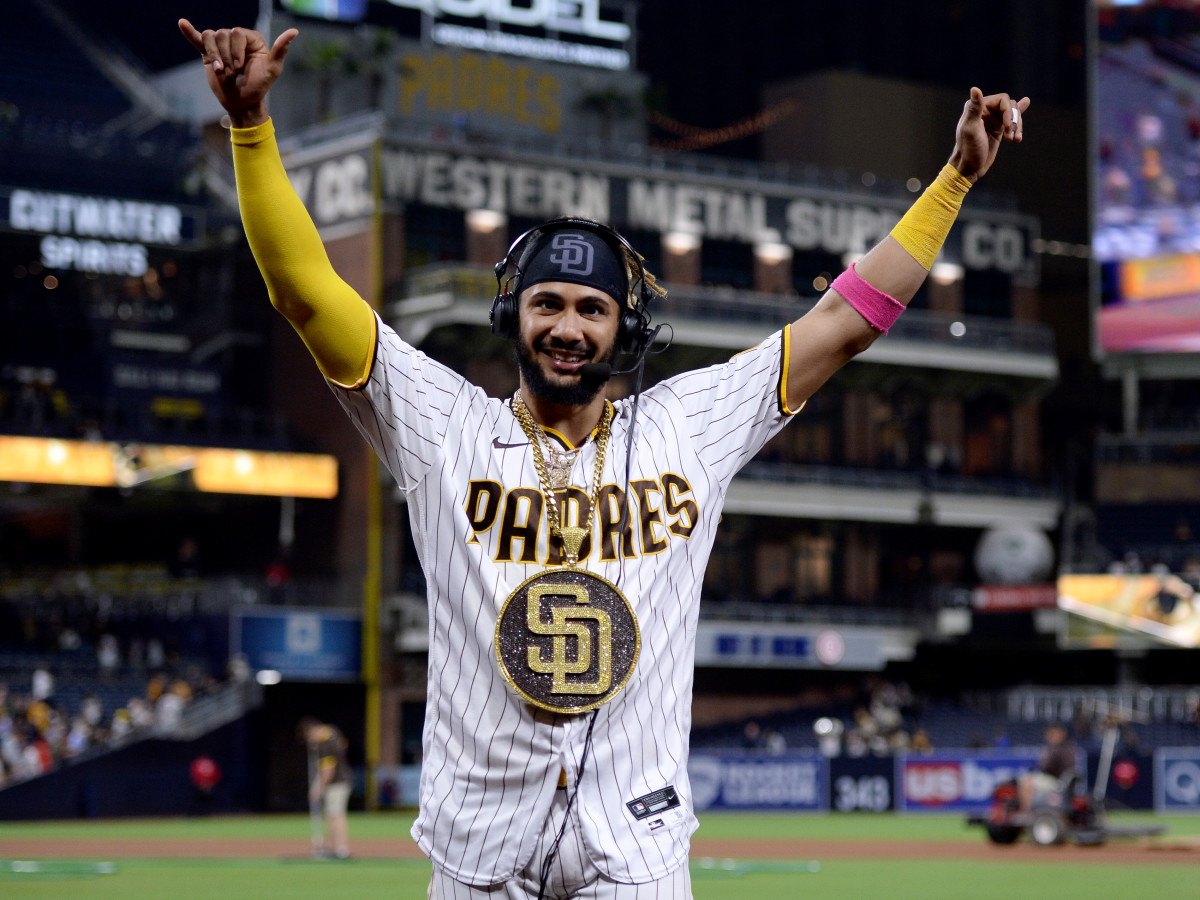 Jun 25, 2021; San Diego, California, USA; San Diego Padres shortstop Fernando Tatis Jr. (23) gestures after the game against the Arizona Diamondbacks at Petco Park