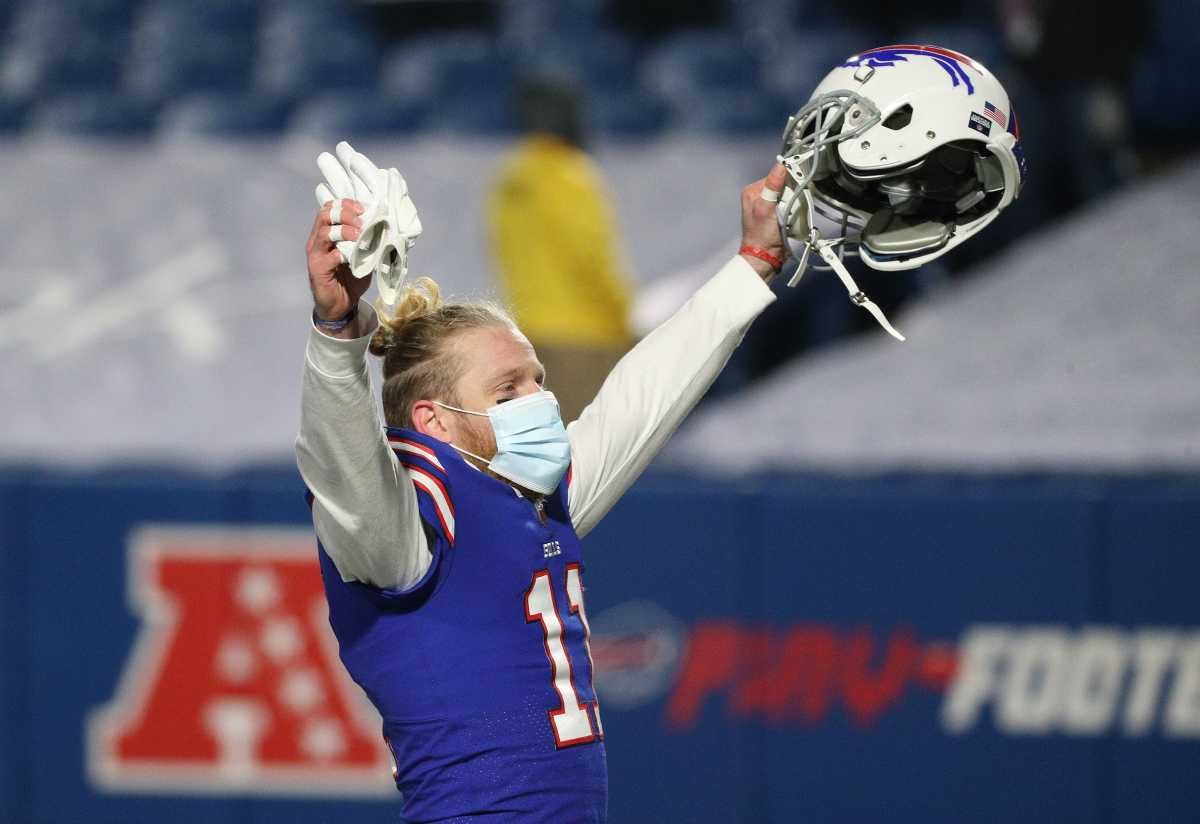 Bills receiver Cole Beasley celebrates with the crowd after Buffalo beat the Ravens in the AFC divisional game. Jg 011620 Bills 7