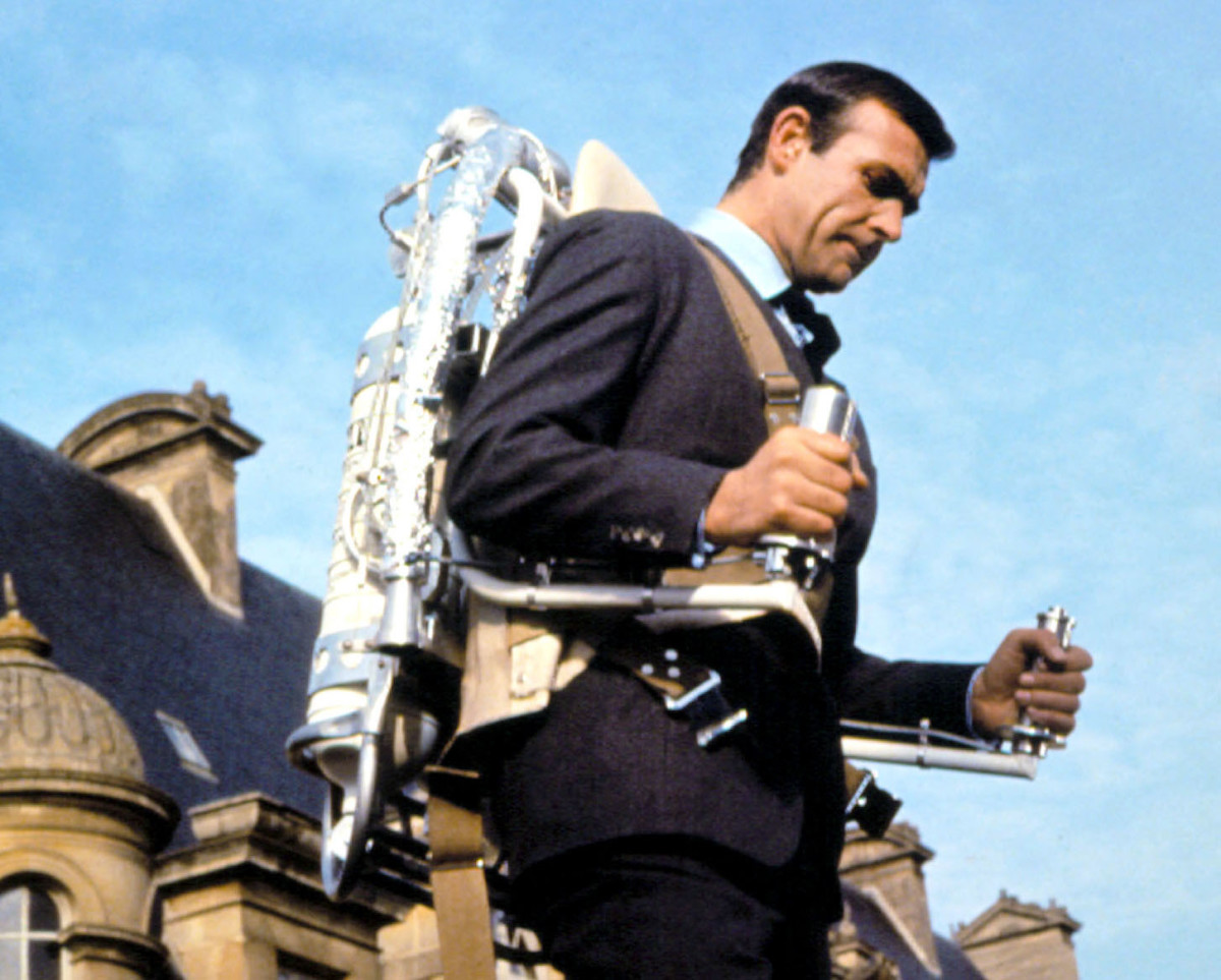 """Sean Connery, as James Bond, pilots a jetpack in """"Thunderball"""" in 1965."""