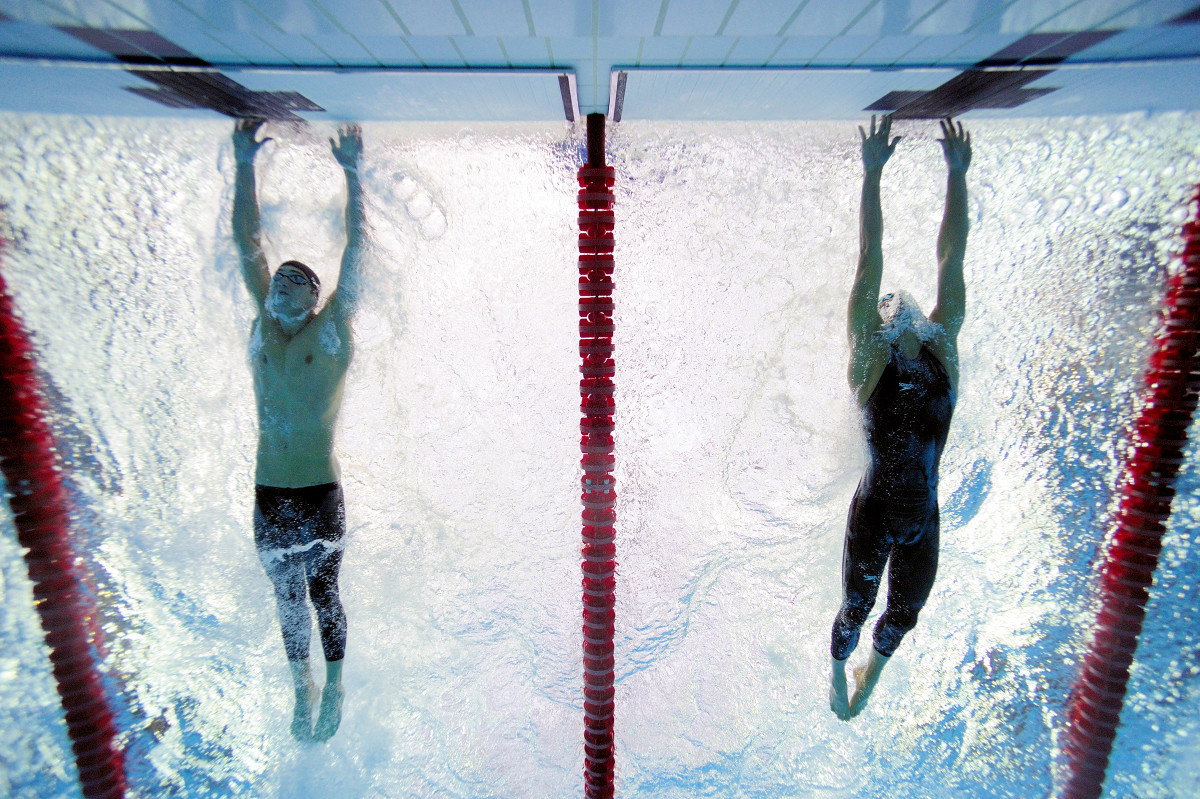 The iconic underwater photo of Michael Phelps and Milorad Cavic of Serbia in the 100 meter race as the 2008 Beijing Olympics. Phelps won by .01 seconds.