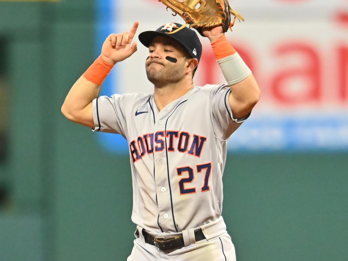 Houston Astros second baseman Jose Altuve (27) celebrates after the Astros beat the Cleveland Indians