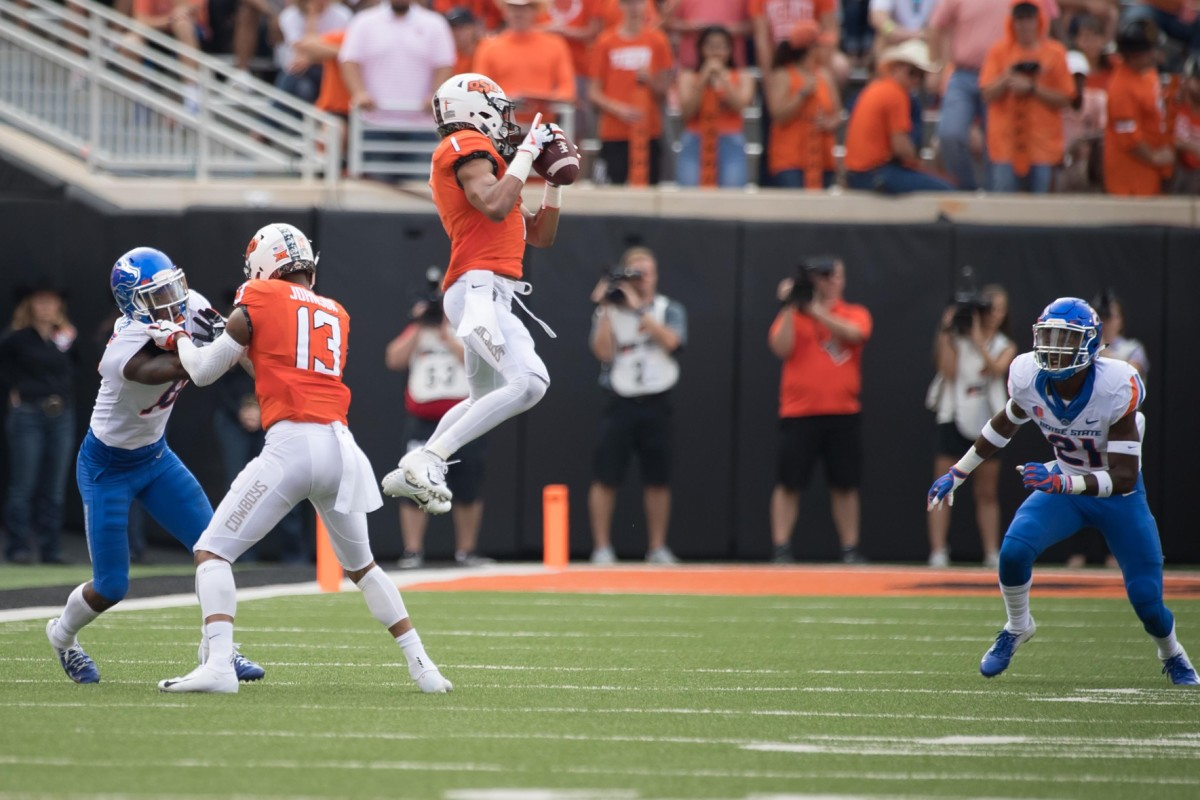 Oklahoma State Cowboys receiver Jalen McCleskey (1) makes a catch against Boise State. Mandatory Credit: Rob Ferguson-USA TODAY