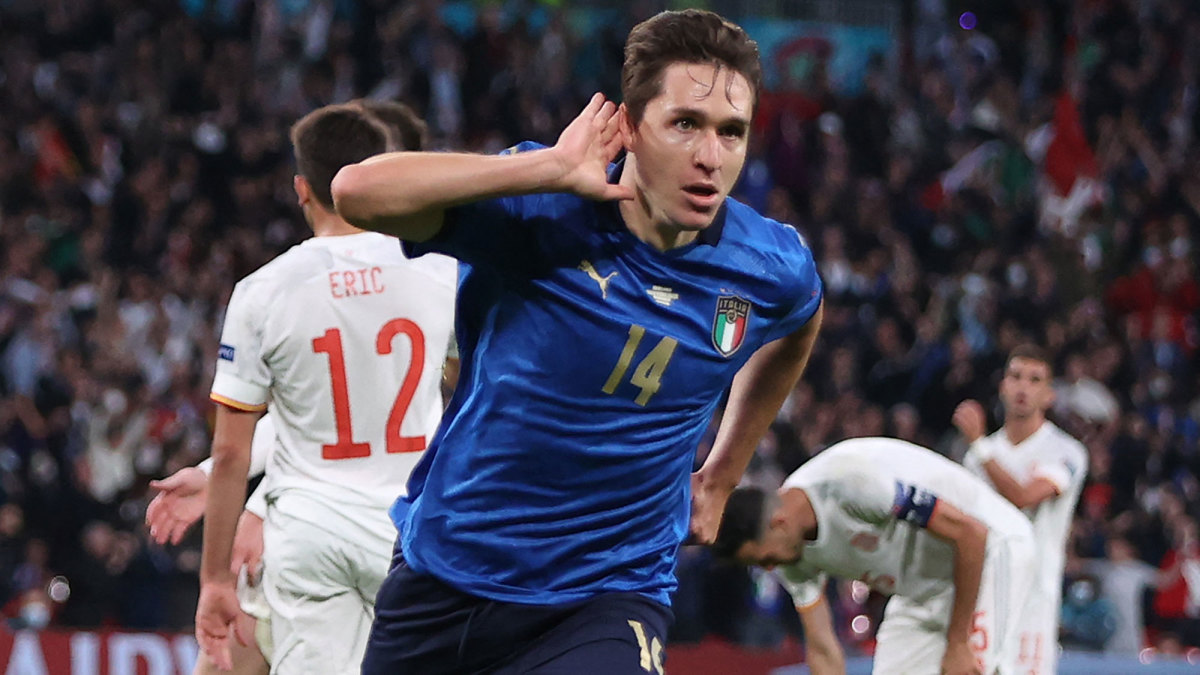 Federico Chiesa scores for Italy vs. Spain at Euro 2020