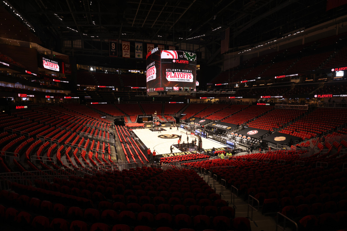 Jul 3, 2021; Atlanta, Georgia, USA; A general view of the interior of State Farm Arena before the game between the Atlanta Hawks and the Milwaukee Bucks during Game 6 of the Eastern Conference finals for the 2021 NBA playoffs at State Farm Arena.