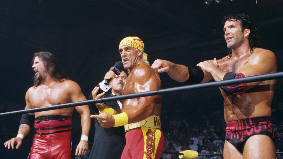 Kevin Nash, Scott Hall and Hulk Hogan in the ring during 'Bash at the Beach'