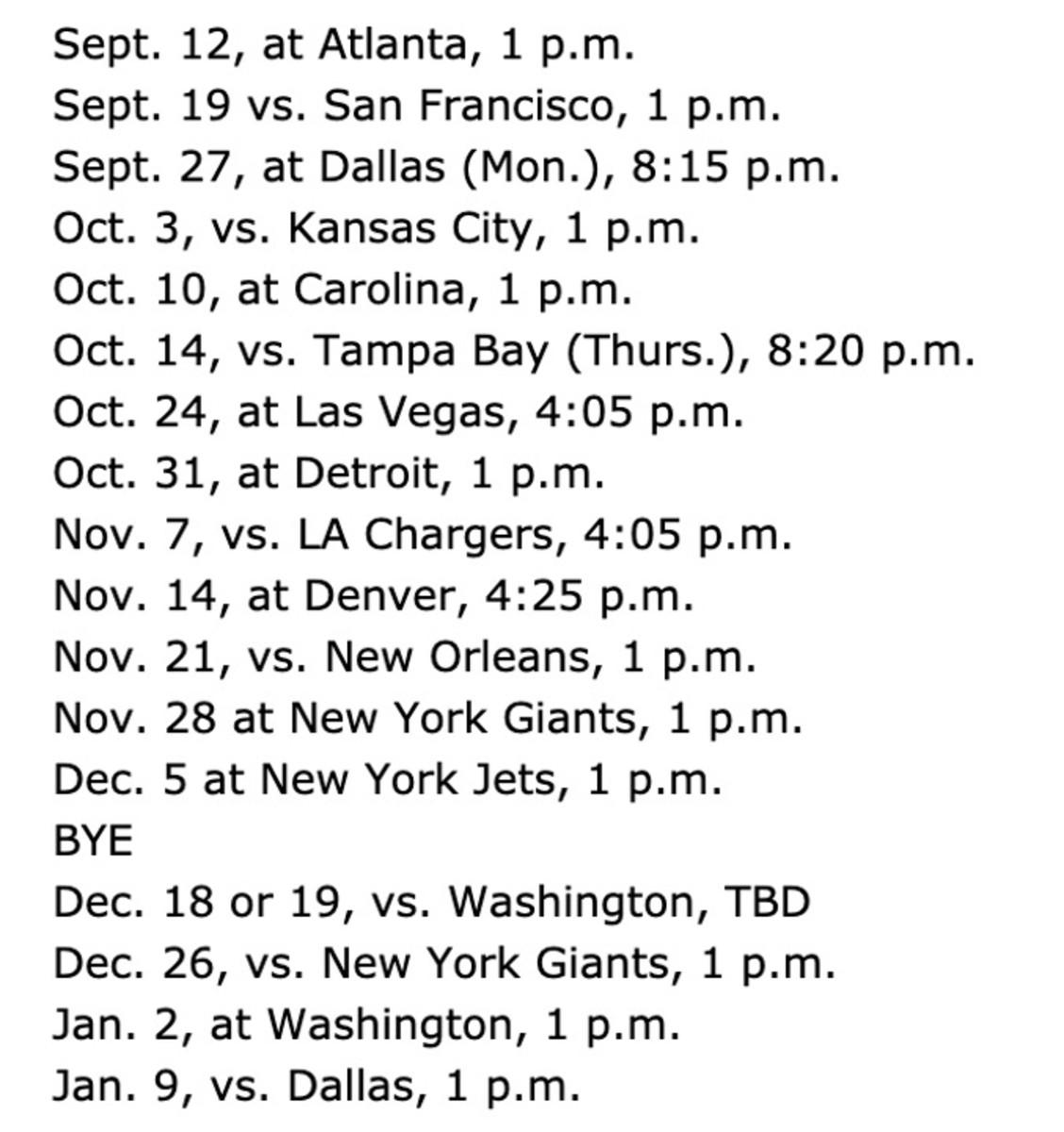 Eagles 2021 schedule