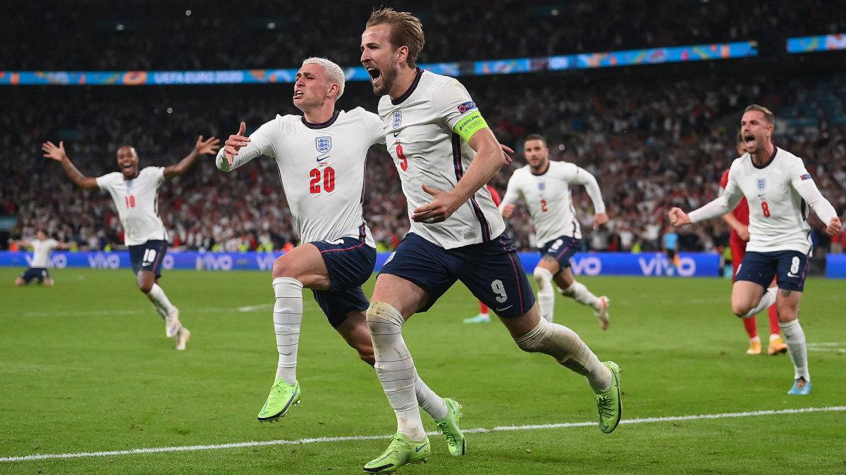 Harry Kane scores for England vs. Denmark