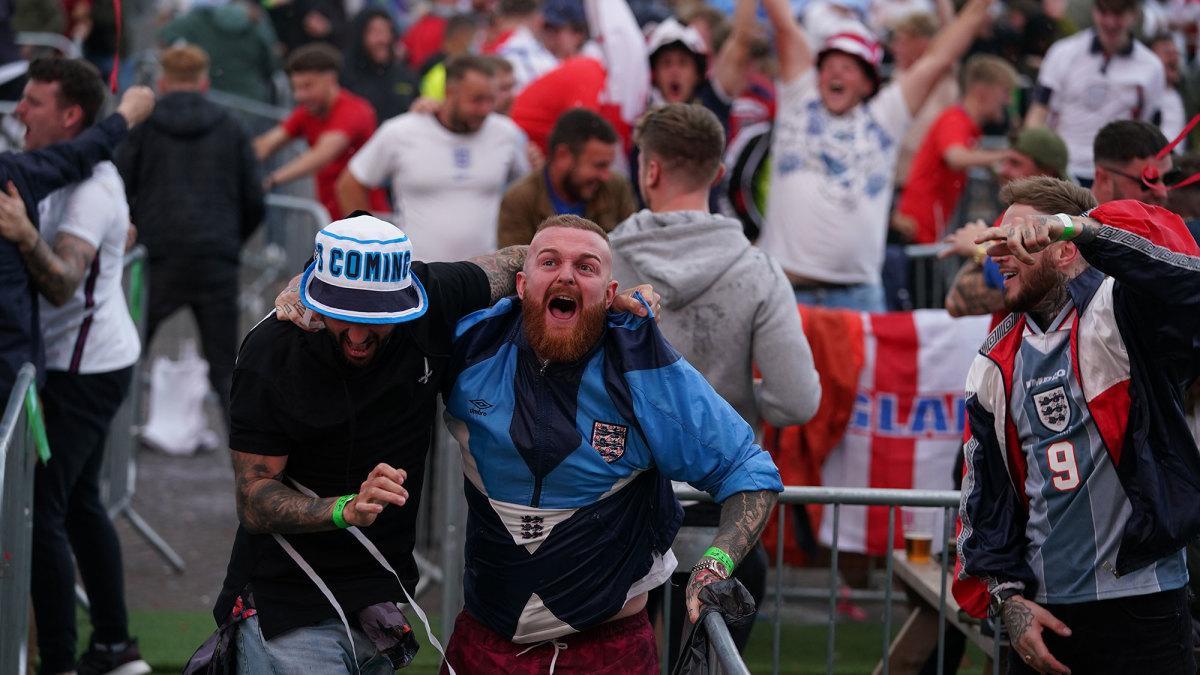 England fans celebrate a goal vs. Denmark in the Euro semifinals